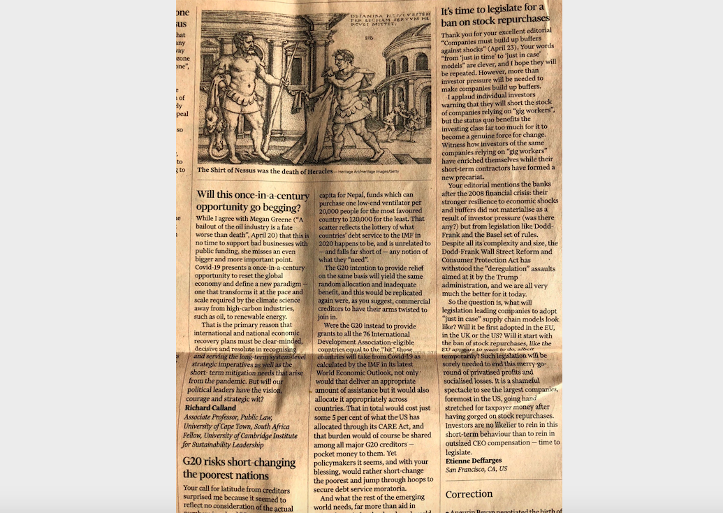 Published in the Financial Times on April 27, 2020